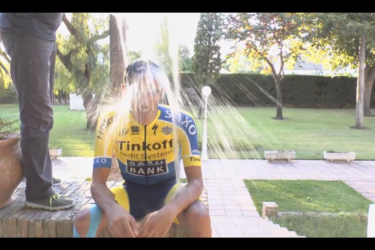 Alberto Contador takes the ALS Ice Bucket Challenge (image via YouTube)