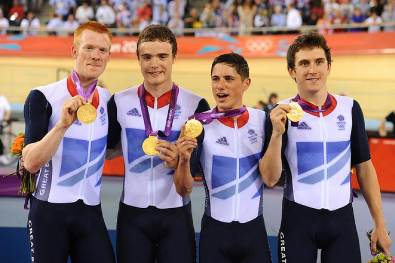 Steven Burke (second left) on London 2012 podium (copyright Britishcycling.org.uk)