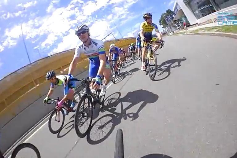 Still taken from 2014 Shimano Supercrit on-bike footage