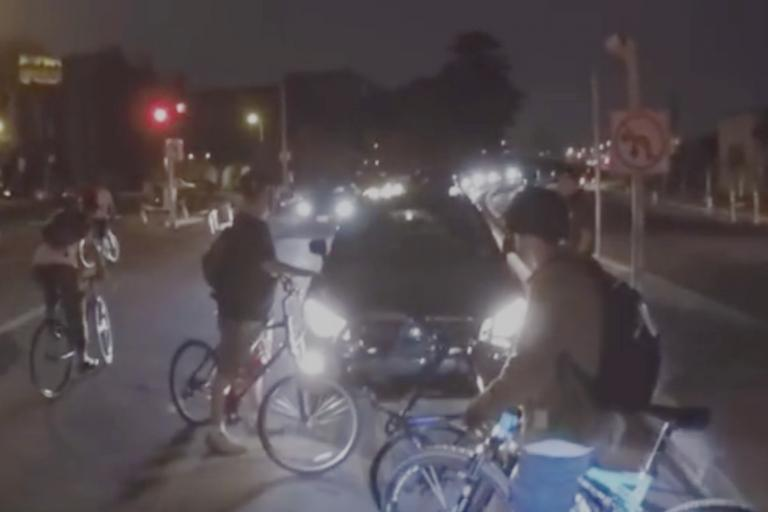 Still taken from YouTube video of San Francisco Critical Mass ride