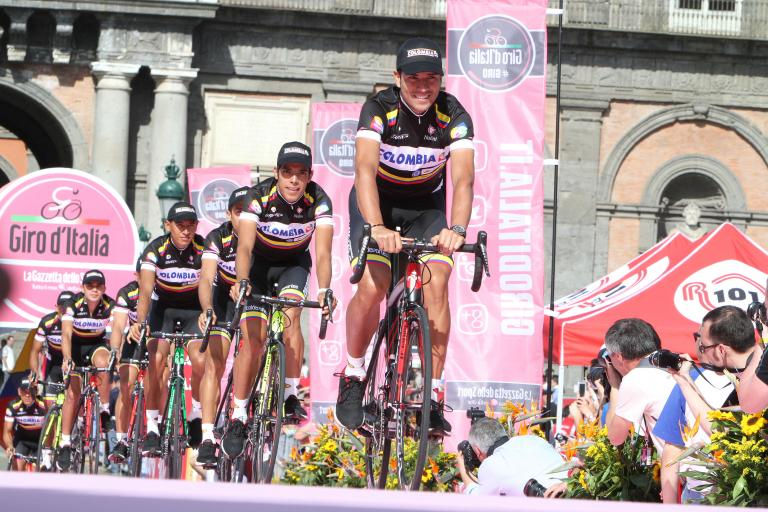 Team Colombia at 2013 Giro Presentation in Naples (copyright Daniele Bottallo, LaPresse)