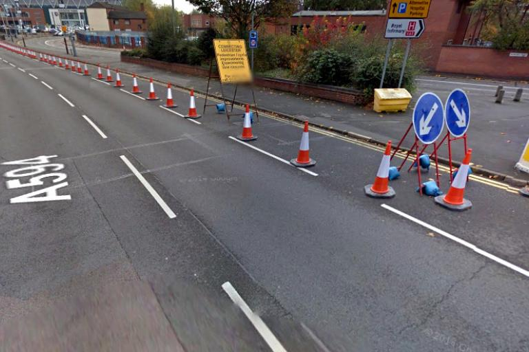 The coned-off lane along Newarke Street, Leicester (Google Streetview)