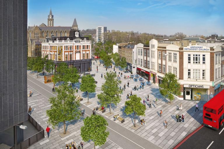The proposed town square in what's now Archway Gyratory