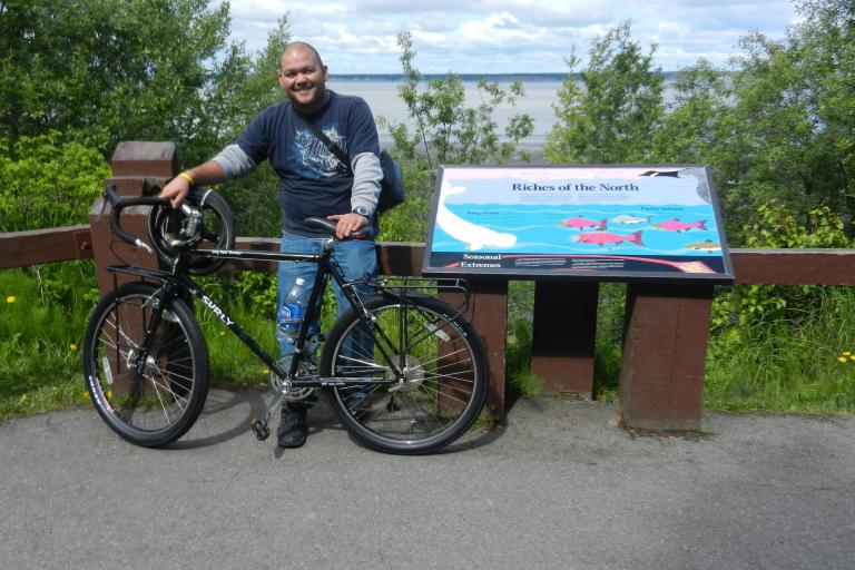 Toni Delatorre with his now missing Surly. Pic courtesy Toni.jpg
