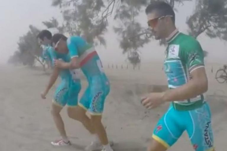 Tour of Oman 2015 sandstorm Vine (source Astana Team)