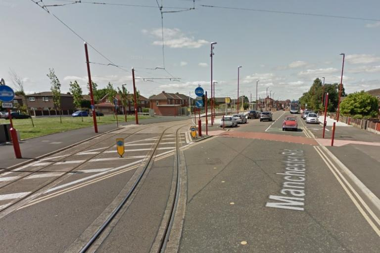 Tramlines to Cemetery Road Metrolink stop (image taken from Google StreetView)