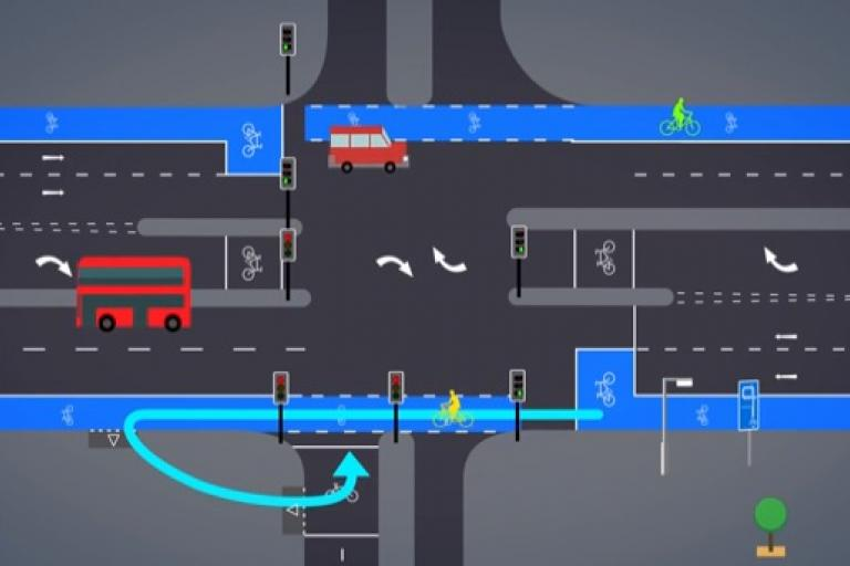 Two-stage right turn TfL video still