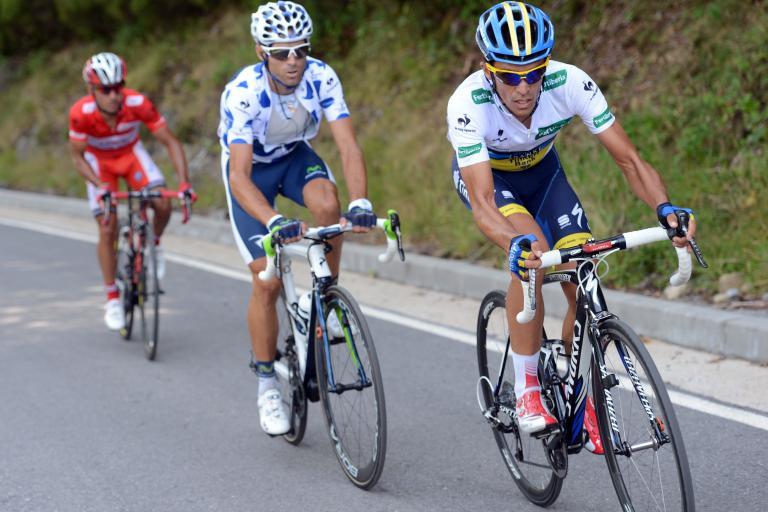 Vuelta 2012 S14 Contador, Valverde, Rodriguez i the jerseys (copyright Unipublic:Graham Watson)