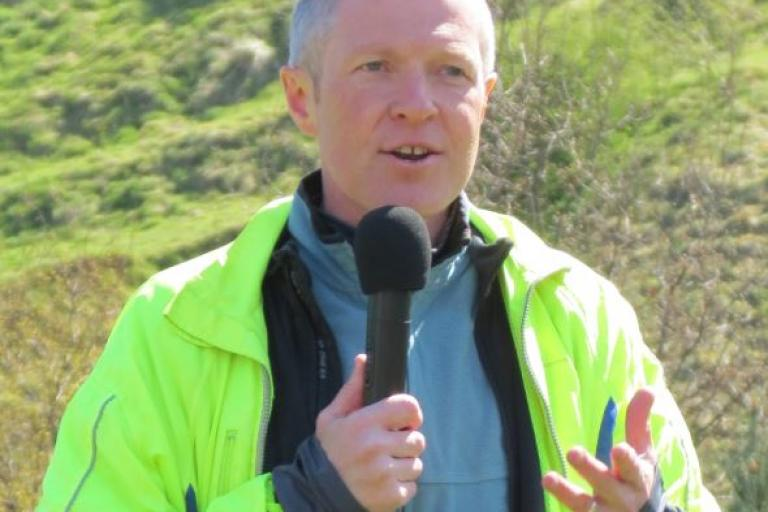 Willie Rennie addresses Pedal On Parliament 2015 (picture credit Chris Hill, cropped)