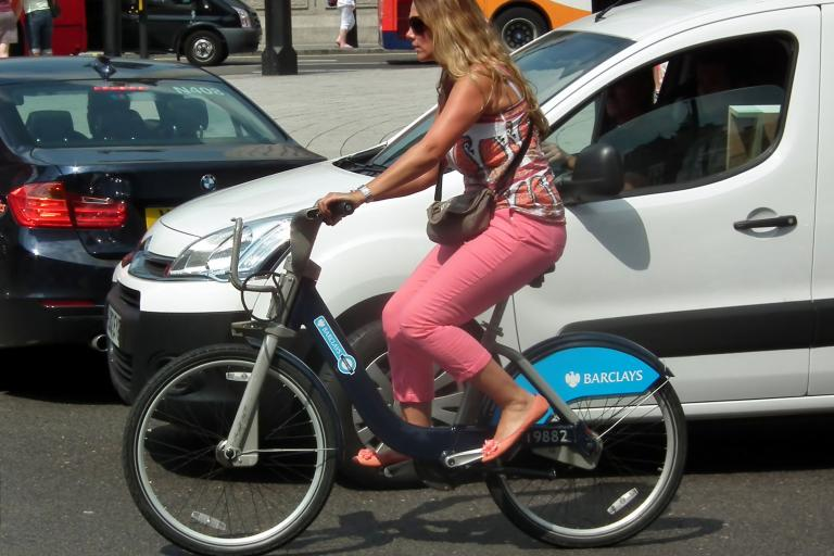 Woman on Boris Bike (CC licensed by kenjonbro:Flickr)