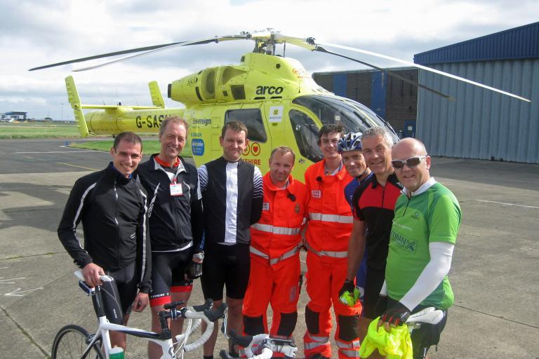 Yorkshire Air Ambulance crew and charity cyclists (source Yorkshire Air Ambulance)