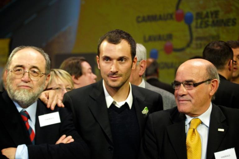 Ivan Basso with dignatories from Pinerolo at 2011 Tour de France Presentation © Simon MacMichael