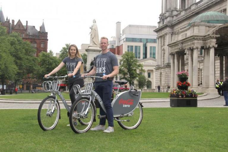 Irene and Philip McAleese of See.Sense with Coca-Cola Zero Belfast Bikes.jpg