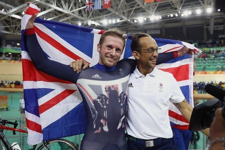 Justin Grace with Jason Kenny (British Cycling).jpg