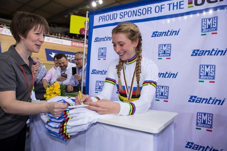 Laura Trott signing rainbow jerseys at London Track Worlds 2016 (copyright SWPix.com/Britishcycling.org.uk).JPG