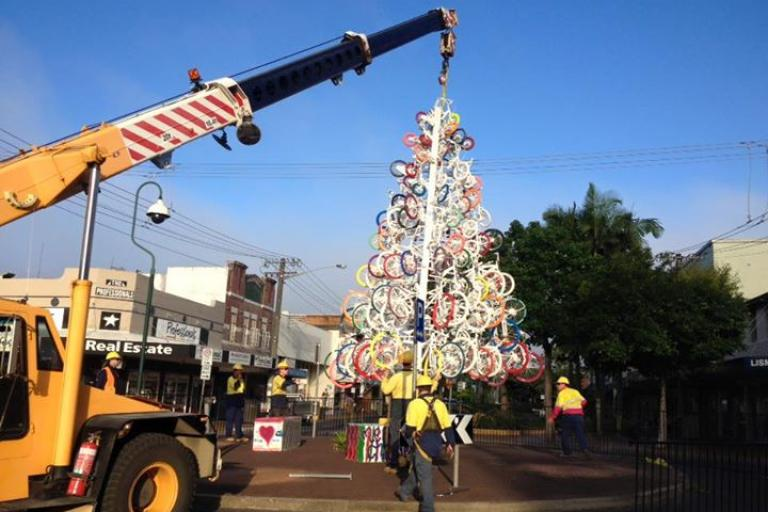 Lismore Christmas tree made of bikes (via Facebook)