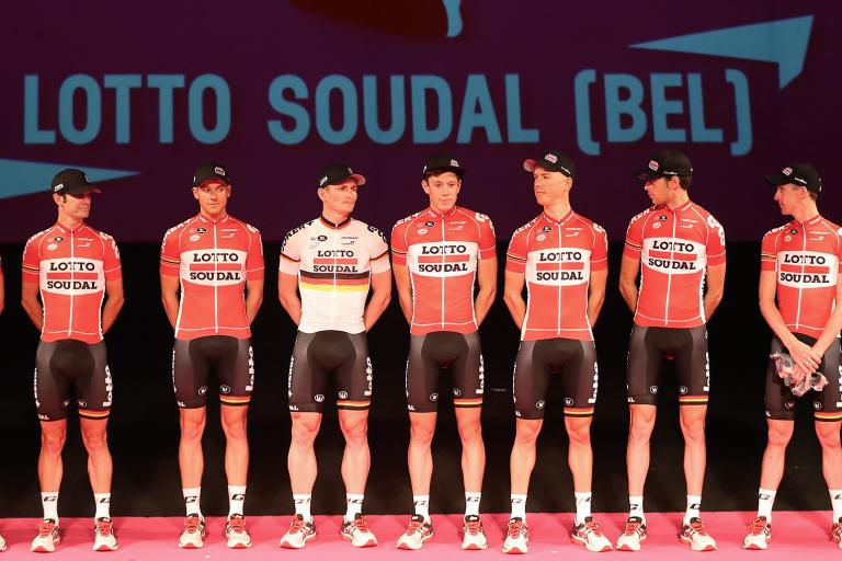 Lotto Soudal at 2015 Giro d'Italia presentation (photo credit ANSA, Daniel Dal Zennaro-Claudio Peri).jpg