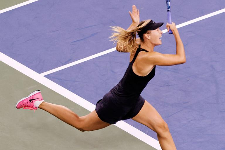 Maria Sharapova, 2014 US Open (licenced CC BY 2.0 on Flickr by Michael Vadon).jpg
