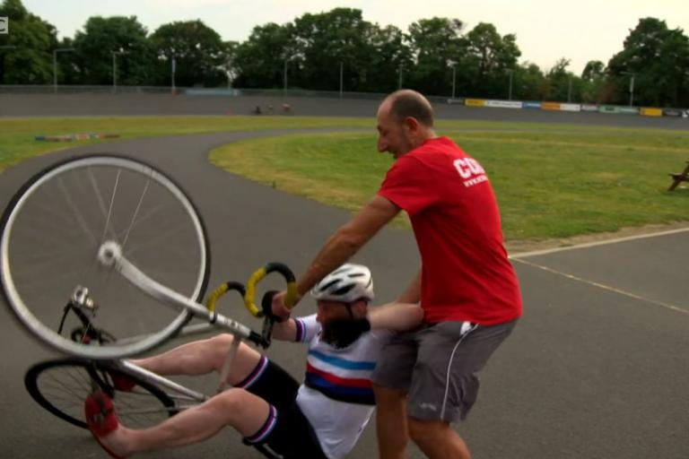 Michael Portillo takes a tumble at Herne Hill (BBC iPlayer still).jpg