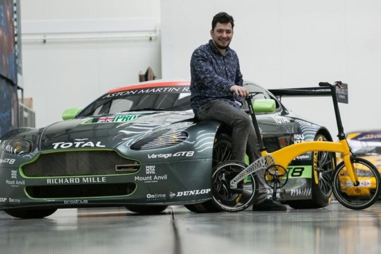 Petre Craciun with the Hummingbird at Prodrive HQ (source Hummingbird on Kickstarter).jpg