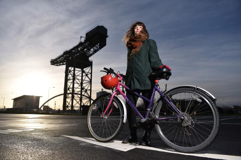 Rebekah Bergh with Glasgow's Finnieston Crane in the background (picture credit Sustrans Scotland).jpg