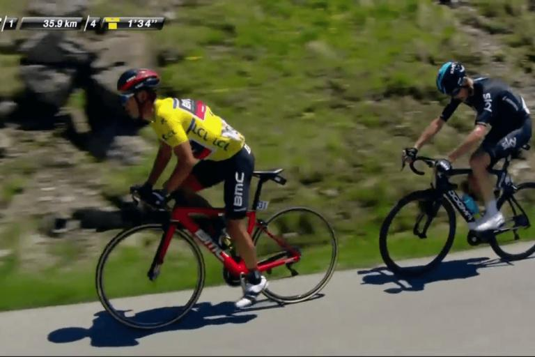 Richie Porte and Chris Froome on Stage 8 of 2017 Dauphine (video still).png
