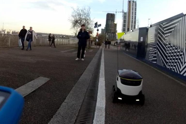 Robot on Thames Path (still from Paul Ready helmet cam footage)