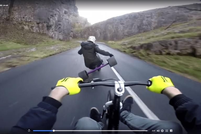 Drift Triking downhill Cheddar Gorge (still from Drift TriKING video)