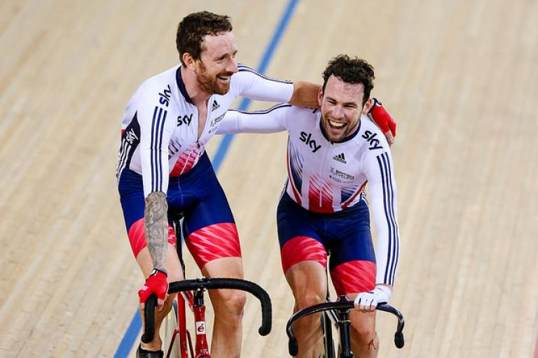 Sir Bradley Wiggins and Mark Cavendish at Track Worlds 2016 (copyright Charlie Forgham-Bailey, SWpix.com).jpg