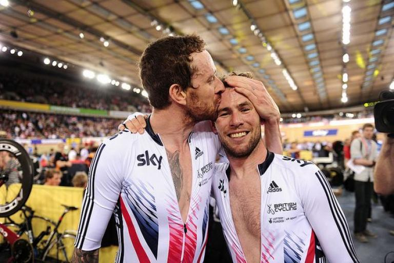 Sir Bradley Wiggins and Mark Cavendish win Madison at 2016 Track Worlds, copyright SWPix.com, Britishcycling.org_.uk_.JPG