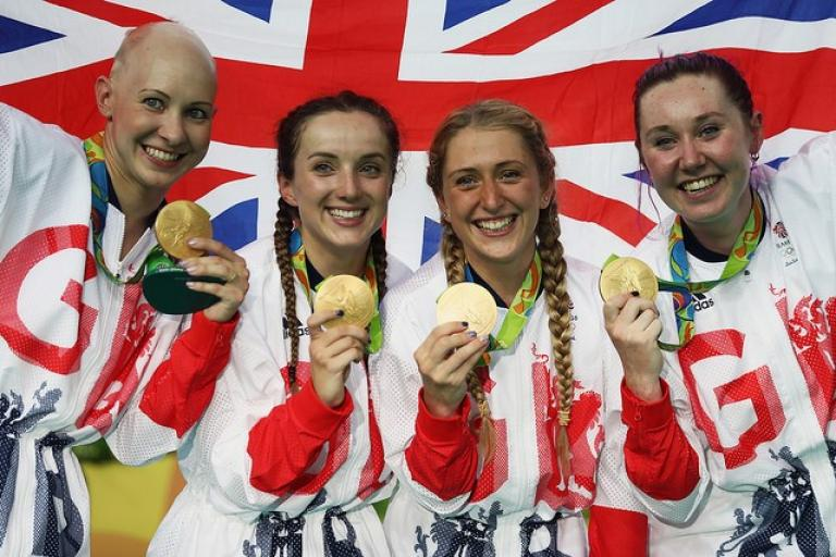 Team GB women's team pursuit with Rio 2016 gold medals (copyright Britishcycling.org_.uk).jpg