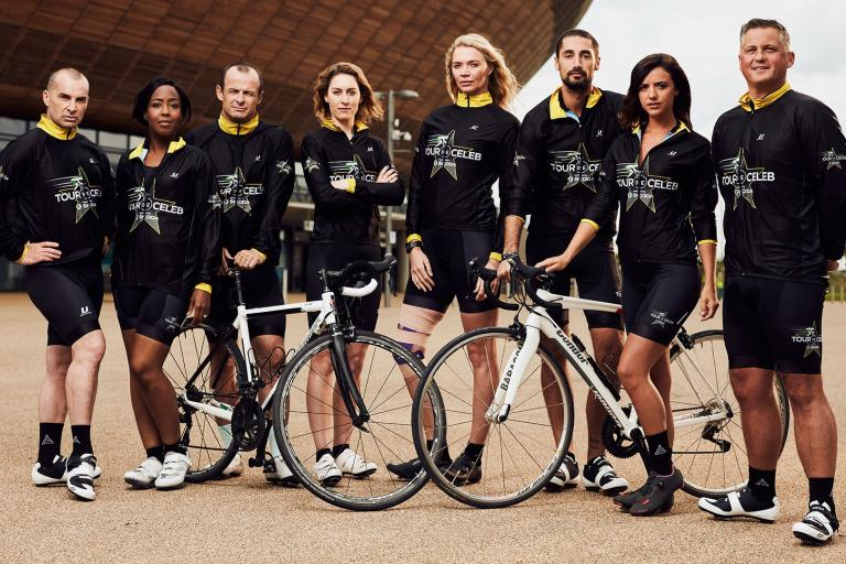 Tour de Celebs: Louie Spence, Angellica Bell, Austin Healey, Amy Williams, Jodie Kidd, Hugo Taylor, Lucy Mecklenburgh, and Darren Gough
