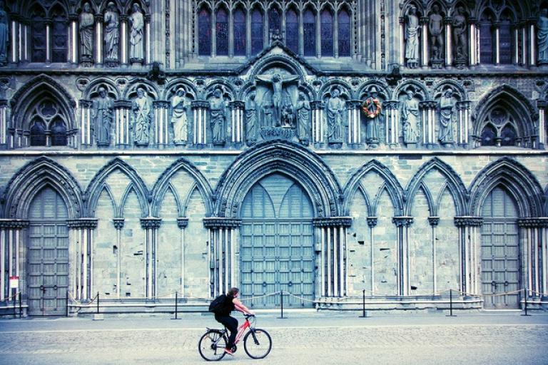 Trondheim Church and cyclist (CC licensed by markheybo via Flickr).jpg