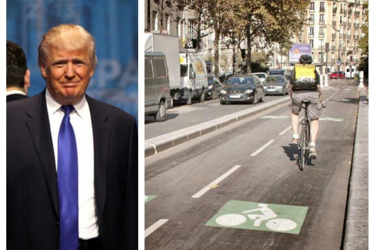 Trump and segregated cycle lanes - images via Gage Skidmore on Flickr and Simon MacMichael.jpg