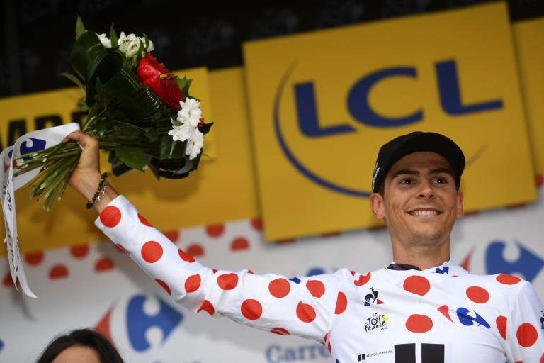 Warren Barguil in polka dots at 2017 Tour de France (image credit Cor Vos via Team Sunweb).jpg